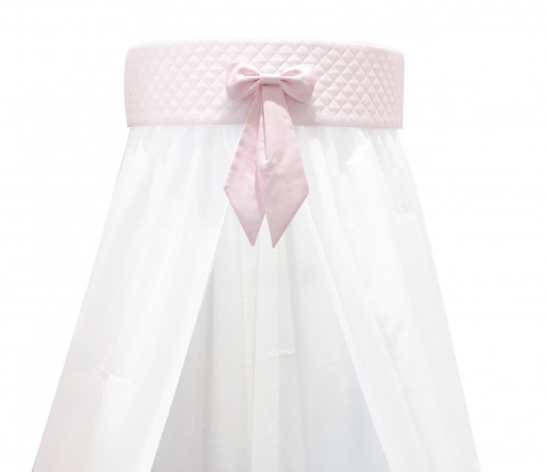 White wall canopy - pink panel with bow