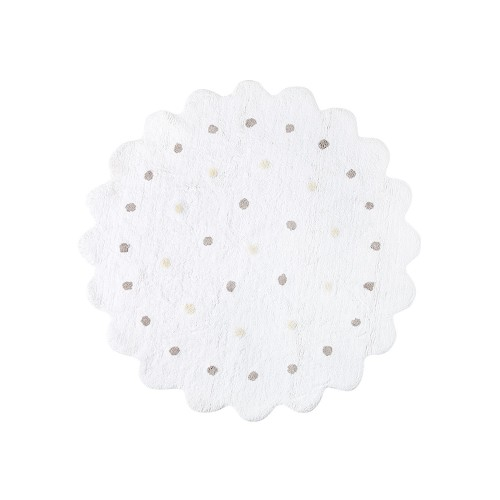 White cookie rug with beige and grey dots